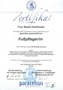 Zertifikat Fußpflege